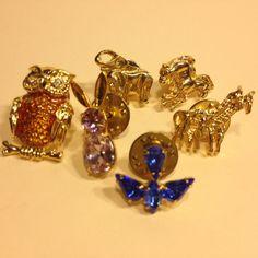 Vintage Estate Lot of 6 ANIMAL LAPEL PINS Gold Tone Rhinestone Owl Blue Bird