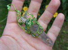 Mystical Green Goddess Earthy Green Wire by notchroadfairies
