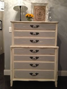 BEAUTIFUL SHABBY CHIC 5 Draw Dresser by SavvyChicMichelle on Etsy, $450.00 Annie Sloan chalk paint Paris gray and old white