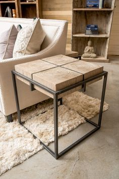 """Copnick 22"""" Elm + Iron End Table"""