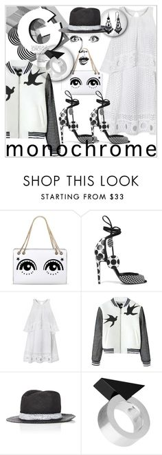 """""""monochrome surprise"""" by fiery555 ❤ liked on Polyvore featuring RED Valentino, Pierre Hardy, Albertus Swanepoel, GE, Moonsoo Kim, 1928, monochrome, blackandwhite and blackjewelry"""