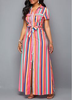Turndown Collar Button Up Belted Maxi Dress | modlily.com - USD $35.52
