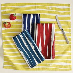 """Did you know? Napkins are just the right size to make sofa pillows.  Use the existing hem stitching line to sew two together, leaving the 1/4"""" edges free all around.  You can get great print, borders, and solid cotton or linen looks for ten bucks a pillow."""