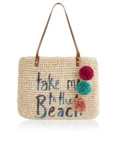 Make a break for sun, sea and sand with our packable straw tote bag, printed with the slogan: 'Take Me To The Beach'. Featuring a magnetic snap button closure, this spacious style has plenty of room for beachside essentials, plus leather-look straps and 3D pom-pom decorations.