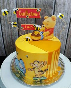 Winnie The Pooh Cake, Winnie The Pooh Birthday, Baby Boy Birthday Cake, First Birthday Cakes, Cakes For Boys, Kid Cakes, Cute Cakes, Yummy Cakes, Baby Shower Cakes
