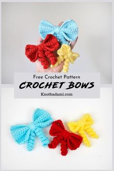 How to Create Your Own Crochet Bow! - Knot Bad Learn how to crochet your own little cute bows with this beginner friendly pattern! You can find th Crochet Hair Bows, Crochet Hair Accessories, Crochet Hair Styles, Crochet Flowers, Crochet Bows Free Pattern, Easy Crochet Patterns, Crochet Motif, Free Crochet, Barrettes
