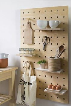 Easy And Cheap Cool Tips: Natural Home Decor Earth Tones natural home decor inspiration interior design.Natural Home Decor House natural home decor diy pine cones.Natural Home Decor Diy Interior Design. Large Pegboard, Wooden Pegboard, Pegboard Storage, Wooden Pegs, Pegboard Display, White Pegboard, Plywood Storage, Plywood Shelves, Kitchen Shelves