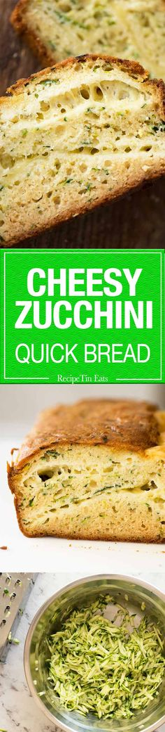 A Cheesy Zucchini Bread that's quick to make (no yeast) and is so moist, you'll scoff it down even without slathering it with butter! Focaccia, Bread Recipes, Cooking Recipes, Savoury Recipes, Recipe Tin, Recipetin Eats, Zucchini Bread, Bread Rolls, Baked Goods