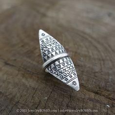 BOHO 925 Silver Ring-Gypsy Hippie Ring,Bohemian style,Statement Ring R133 JewelryBOHO,Handmade sterling silver BOHO Tribal printed ring
