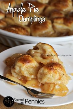 Apple Pie Dumplings made with just two easy ingredients! Simply add them to a baking dish and cook until tender and lightly browned. Serve these dumplings warm out of the oven with a big scoop of vanilla ice cream or a drizzle of heavy cream. Best Dessert Recipes, Apple Recipes, Easy Desserts, Fall Recipes, Sweet Recipes, Delicious Desserts, Yummy Food, Cheesecake Recipes, Apple Pie Dumplings