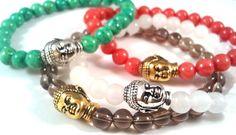 Bhoemian Style, Yoga accessories Gemstone Buddha Bracelets Healing bracelets by CorinnaMaggyDesigns, $12.95