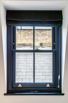 Sash Window with Curtain Blinds Brass Hardware Upvc Sash Windows, Timber Windows, Sliding Windows, Curtains With Blinds, Blinds For Windows, Windows And Doors, Window Blinds, Window Shutters, Terrace House Exterior