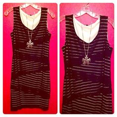 """HP2X Black & White Bodycon Dress Weekend Warrior Party HP 8/7/15 50 Shades of Fashion Party HP 8/18/14NWOT. ⬇️FINAL PRICE⬇️ Fits all of your curves well & is above the knee, especially if you are 5'9"""" like I am. Hot, trendy, & stylish! 4 tiers of diagonal fabric give the front extra Wow! The Black Mesh shell layers over a White lining so you can see large pinholes all over the shell, a gorgeous peekaboo effect!  Dare to Wear over jeans or leggings!  97% Viscose/3% Spandex. Brand New. No…"""