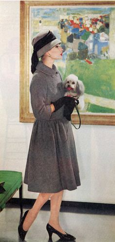 Ladies home Journal 1958. Don't know the name of the model but the dog is called Fluffy...probably