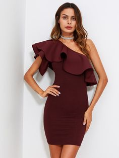 Shop Flounce One Shoulder Form Fitting Dress online. SheIn offers Flounce One Shoulder Form Fitting Dress & more to fit your fashionable needs. Latest Dress, New Dress, Natural Clothing, Trendy Clothing, Clothing Accessories, Women's Clothing, Short Dresses, Summer Dresses, Mini Dresses
