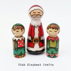 Santa and Elves peg dolls www.pinkelephantcrafts.wales