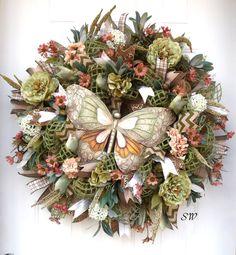Deco Mesh Wreath Seasonal WreathTuscan Themed by SeasonalWreaths