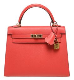 Hermes Rose Jaipur Epsom Leather 25cm Kelly Handbag GHW NEW