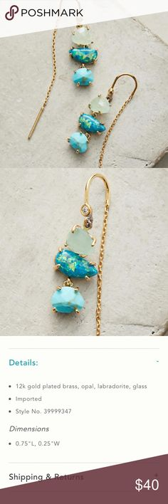 {Anthropologie} Warm Tide Threaders NWT. Gorgeous little opal threader earrings from Anthropologie in shades of blue. Anthropologie Jewelry Earrings