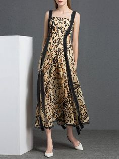 Shop Maxi Dresses - Multicolor Leopard Print Casual Printed Swing Maxi Dress online. Discover unique designers fashion at StyleWe.com.