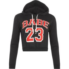 Kagami Babe 23 Cropped Hoodie featuring polyvore, fashion, clothing, tops, hoodies, crop top, black, long sleeve crop top, cropped hoodies, print hoodie, black top and pattern hoodie