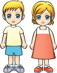 Caucasian Boy and Girl Royalty Free Stock Vector Art Illustration