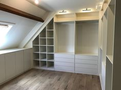 Attic Bedroom Storage, Attic Master Bedroom, Attic Rooms, Home Bedroom, Home Living Room, Attic Bedroom Closets, Attic Wardrobe, Dressing Room Design, Luxury Closet