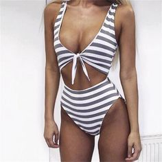 Charlie Ann Striped High-Waisted Bikini One-Piece