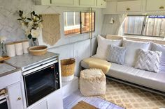 The ultimate Kmart caravan makeover - Homes, Bathroom, Kitchen & Outdoor Caravan Renovation Diy, Caravan Makeover, Happy Campers, Shed Makeover, Tin Shed, Retro Caravan, Hamptons House, Crate Storage, House On Wheels