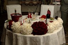 Table, Sweetheart bouquets