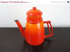 Vintage Descoware Flame Orange Drip Coffee Maker, Coffee Pot, Pour Over, Enameled Cast Iron, Enamelware 1950s Belgium, Le Creuset 23000