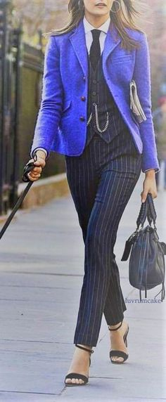 Pinstriped pants suit for women