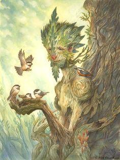 Illustration > The Green Man — Vinod Rams Magical Creatures, Fantasy Creatures, Fantasy World, Fantasy Art, Nature Spirits, Fairy Art, Tree Art, Amazing Art, Character Art