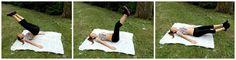Ľahnite si na podložku, ruky vedľa tela. Nohy spolu zo zadkom pomaly dvíhajte do polohy nad hlavu, aká je na obrázku. Následne nohy dávajte do pôvodnej polohy s tým že ich udržite pár centimetrov nad zemou.viď.foto