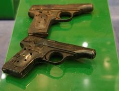 The charred guns used by Joseph and Magda Goebbels to kill themselves on display at a museum in Moscow, Russia