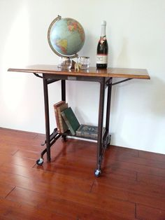 Typewriter Table ~ Vintage Hi Lo Rolling Cart ~ Wood And Metal Industrial  Table ~ Workstation ~ Computer Table ~ Bar Cart