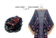 Turn a regular lightweight scarf into a chic kimono with a few easy tips. Then hand sew on the fringe! Diy Clothing, Sewing Clothes, Clothing Patterns, Sewing Patterns, Fashion Mode, Diy Fashion, Kimono Fashion, Fashion Ideas, Kimono Diy