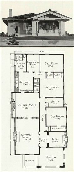 1918 Stillwell House Plans - California Representative Homes - c. 1918 Stillwell House Plans - California Representative Homes - Bungalow Porch, Bungalow Floor Plans, Craftsman Style House Plans, House Floor Plans, 1940s Bungalow, Small Bungalow, Craftsman Houses, The Plan, How To Plan