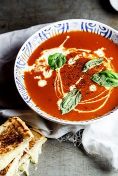 Roast tomato soup with the ultimate Grilled Cheese. #vegetarian #recipe