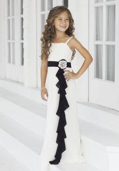 Chiffon Spaghetti Straps Column Long Junior Bridesmaid Dress with Black Ruffled Drape - Bridesmaid - WHITEAZALEA.com