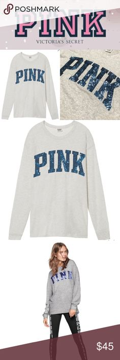 NEW!!  VS PINK oversized bling tee long sleeve Brand new in plastic, never used!!  Only taken out for pics!!  Lightweight cotton campus tee has long sleeves and is made of light gray fabric with PINK graphic in blue glitter across chest.  Oversized fit.  Size XS, but could fit up to size M. 🚭Smoke-free home 🙅Absolutely no holds or trades  ❌❌LOWBALL OFFERS ARE CONSIDERED RUDE AND WILL BE IGNORED❌❌ ❌USERS WHO SUBMIT LOWBALL OFFERS WILL BE BLOCKED❌❌ 🎀Use bundles to lower prices🎀 Thanks for…