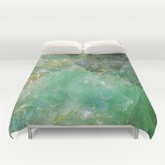 Absinthe Green Quartz Crystal Duvet Cover #agate #quartz #rocks #minerals #crystals #prettystuff #hygge