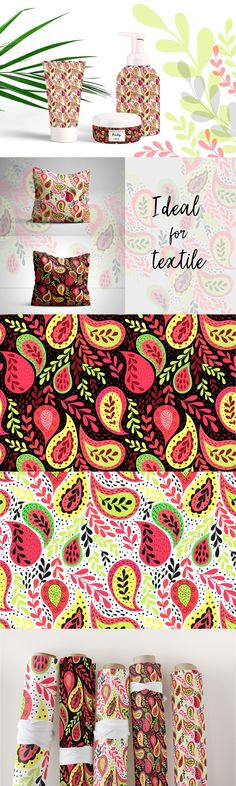 Bright and juicy floral paisley design. Summer mood in colors and motifs. Seamless pattern in two colors and three sizes. You can use this illustration on a huge variety of products or projects. It is only limited by your imagination: fabrics, bedding textiles, wallpapers, packaging, postcards, invitation and congratulation cards, posters, cases and mugs, T-shirts, kids clothing, any printed materials, hand-made and DIY projects and a lot of other... Damask Patterns, Congratulations Card, Paisley Design, Printed Materials, Kids Clothing, Postcards, Imagination, Kids Outfits, Bedding