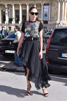 Voila: The Chicest Street Style Moments from Paris Fashion Week - HEAVILY EMBELLISHED TOP AND ASYMMETRICAL SKIRT from InStyle.com