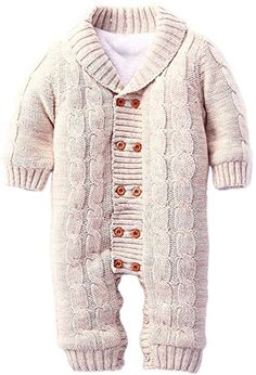 ZOEREA Infant Newborn Baby Romper Long Sleeve Velvet Knitted Sweaters Khaki ** Find out more details @