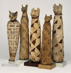 gorgeous wrapping on Egyptian cat mummies.