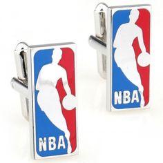 Classic NBA basketball Plating rectangle silver cufflinks