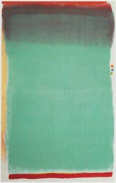 Jules Olitski Tin Lizzie Green, 1964 Alkyd. Kenmerken colourfield painting (abstract expressionisme): gebruik van monochromatische kleurvlakken. Kleurvlakken worden zodanig op doek gebracht, dat ze in eindeloosheid lijken te zweven en de indruk wekken niet te worden beperkt door de begrenzing van het doek. Bedoelt om een meditatieve stemming op te wekken bij de kijker.