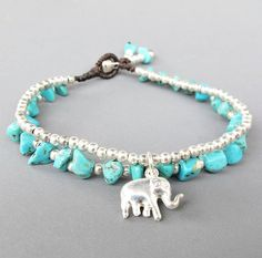 Turquoise Bracelet  Double Strands Turquoise Stone by Summerwrist, $7.00