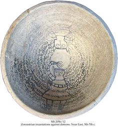 ZOROASTRIAN INCANTATIONS AGAINST DEMONS, INVOKING AMESHA SPENTA, WITH A QUOTE OF ATASH NIYAYESH, THE FIRE PRAYER: 'WORTHY OF SACRIFICE IN THE HOUSE OF .....'  MS in Zoroastrian Middle Persian on clay, Persia, 5th-7th c., 1 incantation bowl, 28,4x14,5 cm, 15+1+5 lines in Pahlavi script, drawing of 2 very large standing demons with feet chained.